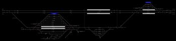 Almásfüzitő felső állomás helyszínrajza